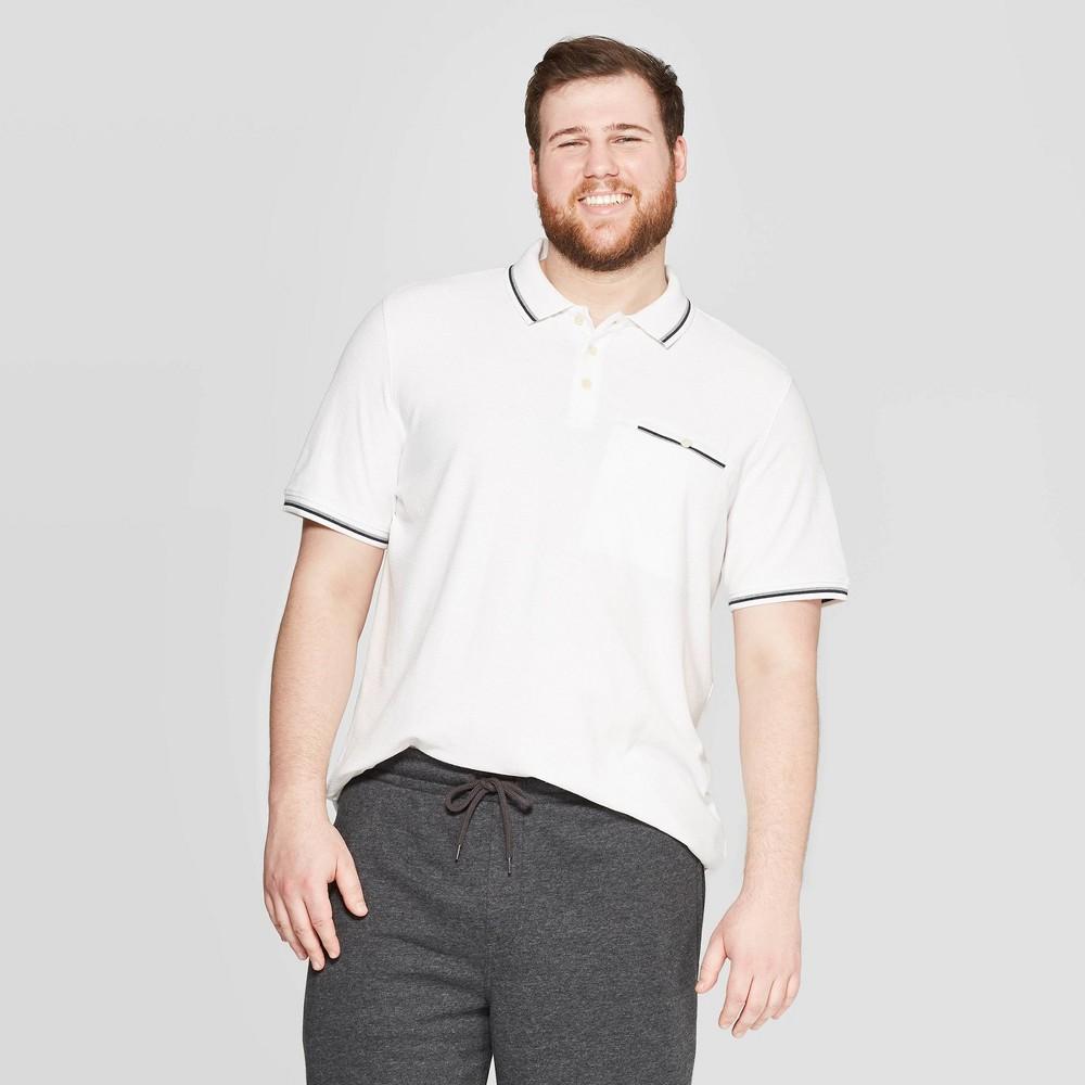 Mens Big & Tall Retro Collared Polo Shirt - Goodfellow & Co White 5XB Reviews