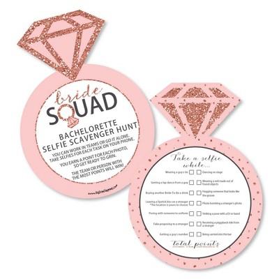 Big Dot of Happiness Bride Squad - Selfie Scavenger Hunt - Rose Gold Bridal Shower or Bachelorette Party Game - Set of 12