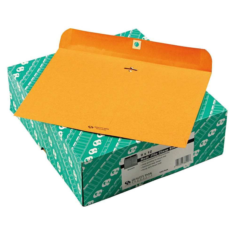 Quality Park Redi-File Clasp Envelope, Contemporary, 12 x 9, Brown Kraft, 100/Box