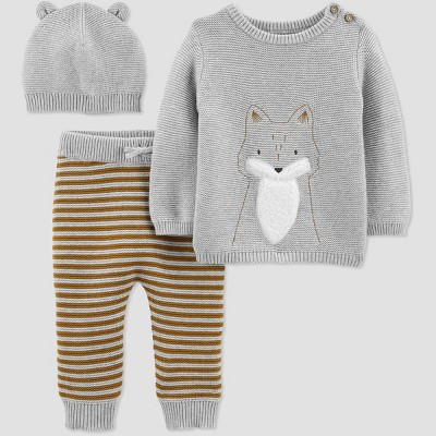 Baby Boys' 3pc Fox Top & Bottom Sets - Just One You® made by carter's Gray/Brown 3M