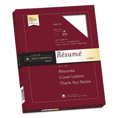 Southworth 100% Cotton Resume Paper White 32 lbs. 8-1/2 x 11 Wove 100/Box RD18CF