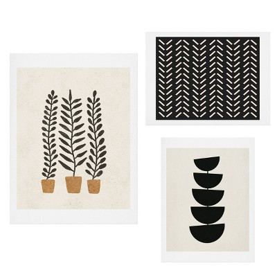 Set of 3 Modern Abstract Gallery Decorative Wall Arts - Deny Designs