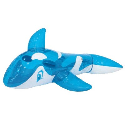 """Pool Central 57"""" Inflatable Whale Rider 1-Person Swimming Pool Float - Blue/White"""