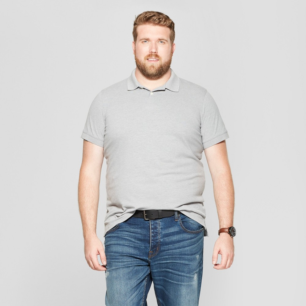 Men's Big & Tall Standard Fit Short Sleeve Loring Polo T-Shirt - Goodfellow & Co Gray 3XBT