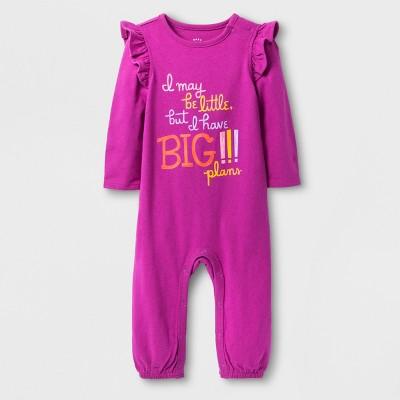 Baby Girls' Big Plans Long Sleeve Romper - Cat & Jack™ Raspberry Verbena 3-6M
