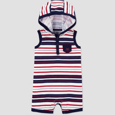 Baby Boys' Striped Hooded Romper - Just One You® made by carter's Blue 6M