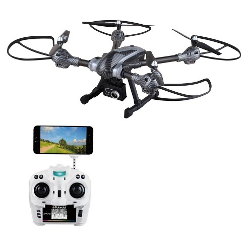 Polaroid HD720p Wi-Fi Camera Drone with adjustable wide angle lens offering  live stream video and photo through a free app - Silver (PL800)