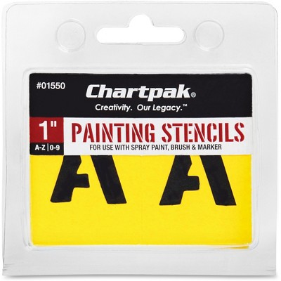 """Chartpak Painting Stencil Numbers/Letters 1"""" Yellow 01550"""