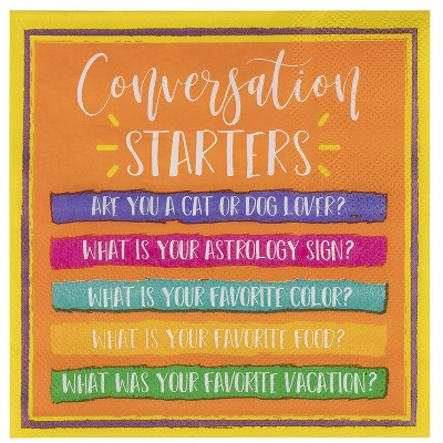 Juvale 100-Pack Conversation Starter Orange Disposable Paper Napkins Party Supplies 6.5 x 6.5 In