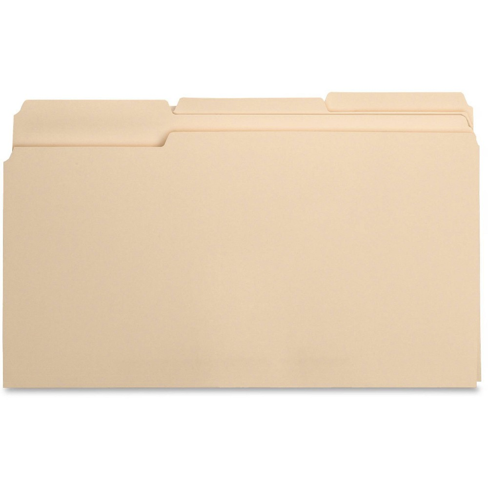 Image of Business Source 100ct 1/3 Cut 1-Ply Top Tab Manila File Folders, Brown