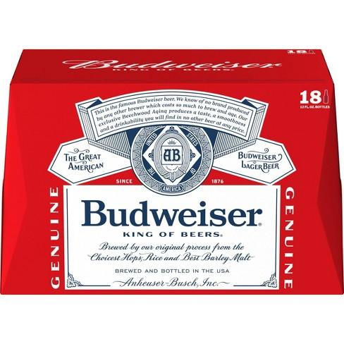Budweiser Lager Beer - 18pk/12 fl oz Bottles - image 1 of 4