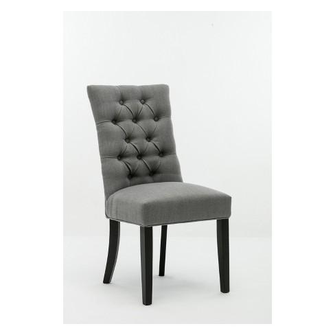 Michelle Tufted Dining Chair Gray Black Set Of 2 Boraam