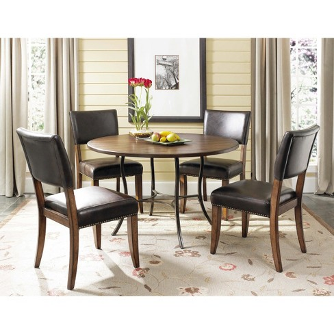 5 Piece Cameron Round Dining Table with Padded Back Chairs Set  Wood/Chestnut Brown - Hillsdale