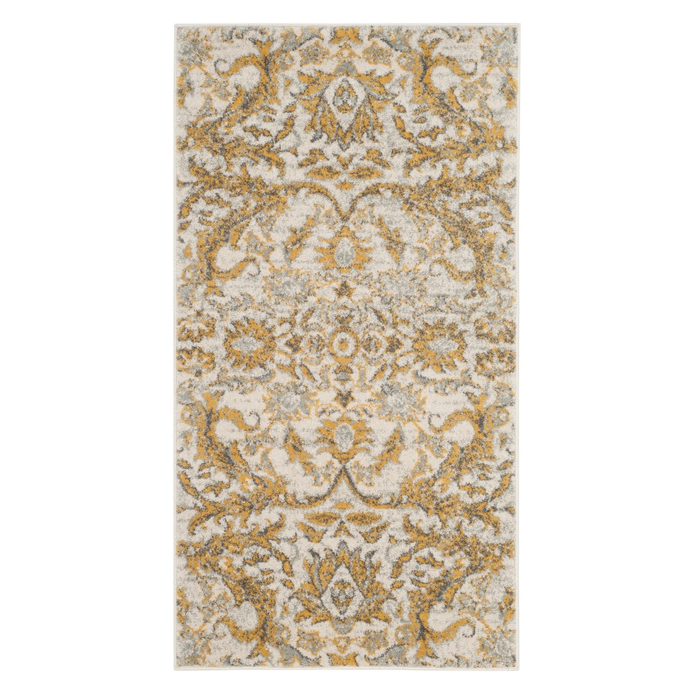 22X4 Floral Accent Rug Ivory/Gold - Safavieh Buy