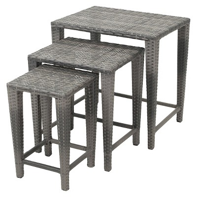 Malcolm Set Of 3 Wicker Nested Side Tables   Christopher Knight Home