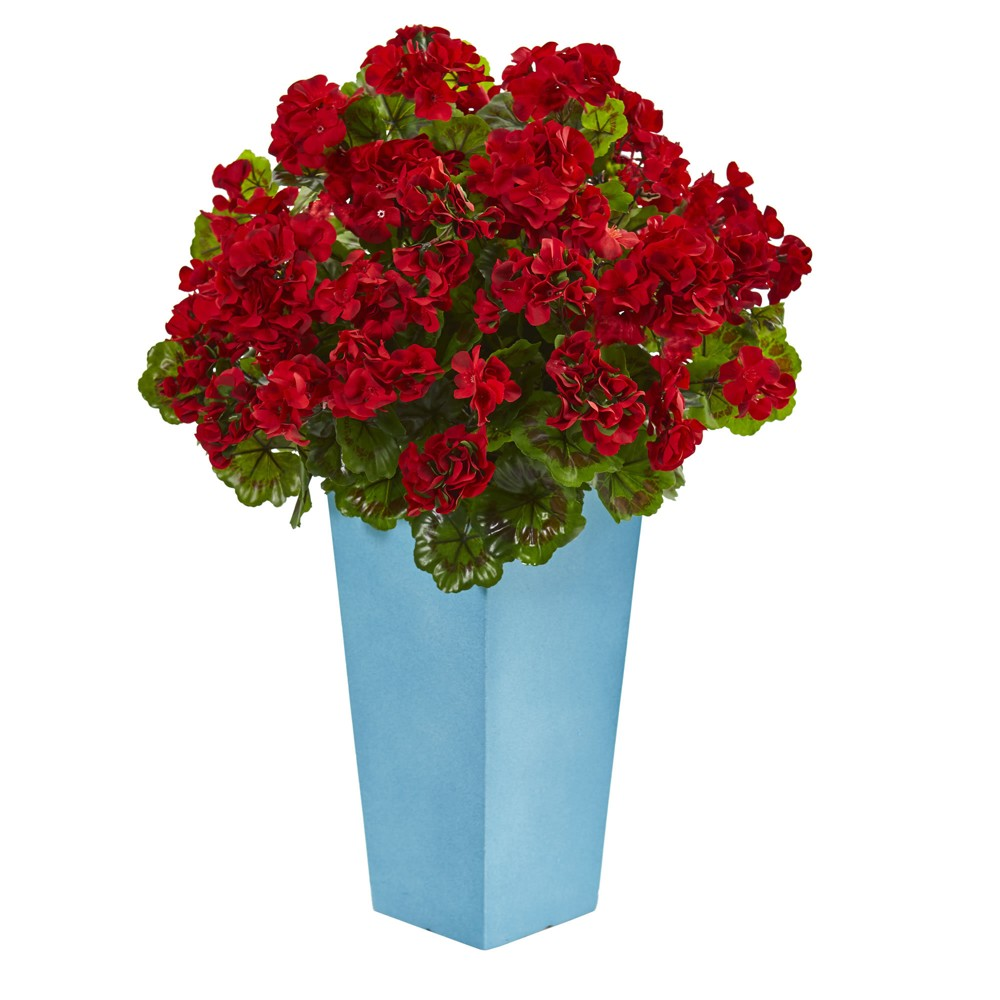 Artificial Geranium In Turquoise Planter Red - Nearly Natural