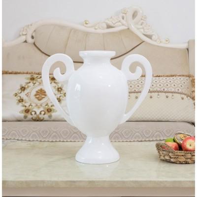 Uniquewise White Fiberglass Amphora Style Modern Centerpiece Vase