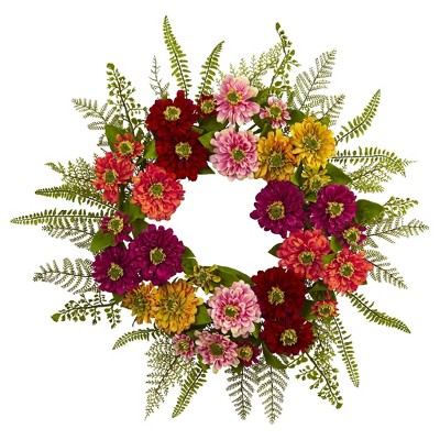 Mixed Flower Wreath - Nearly Natural
