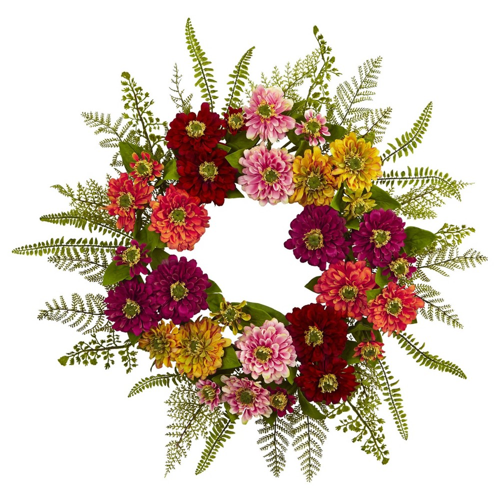 Mixed Flower Wreath - Nearly Natural, Multi-Colored