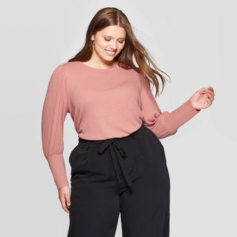 Women's Plus Size Puff Long Sleeve Crewneck Top - Ava & Viv™ - image 1 of 2