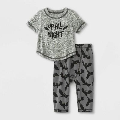 Baby Boys' 2pc Up All Night Short Sleeve Top & Bottom Set - Cat & Jack™ Black Heather 6-9M