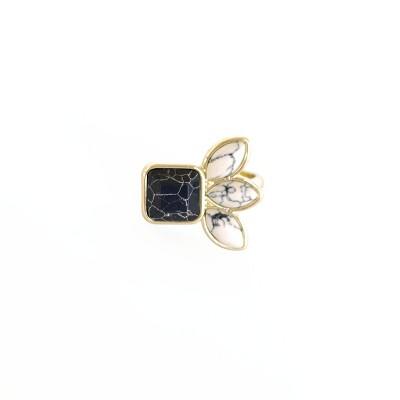 Sanctuary Project Semi Precious Black and White Howlite Three Stone Ring Gold