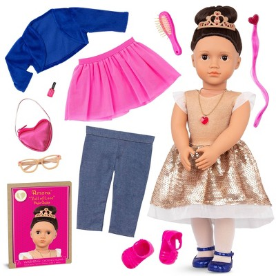 """Our Generation Fashion Starter Kit in Gift Box Amora with Mix & Match Outfits & Accessories 18"""" Fashion Doll"""