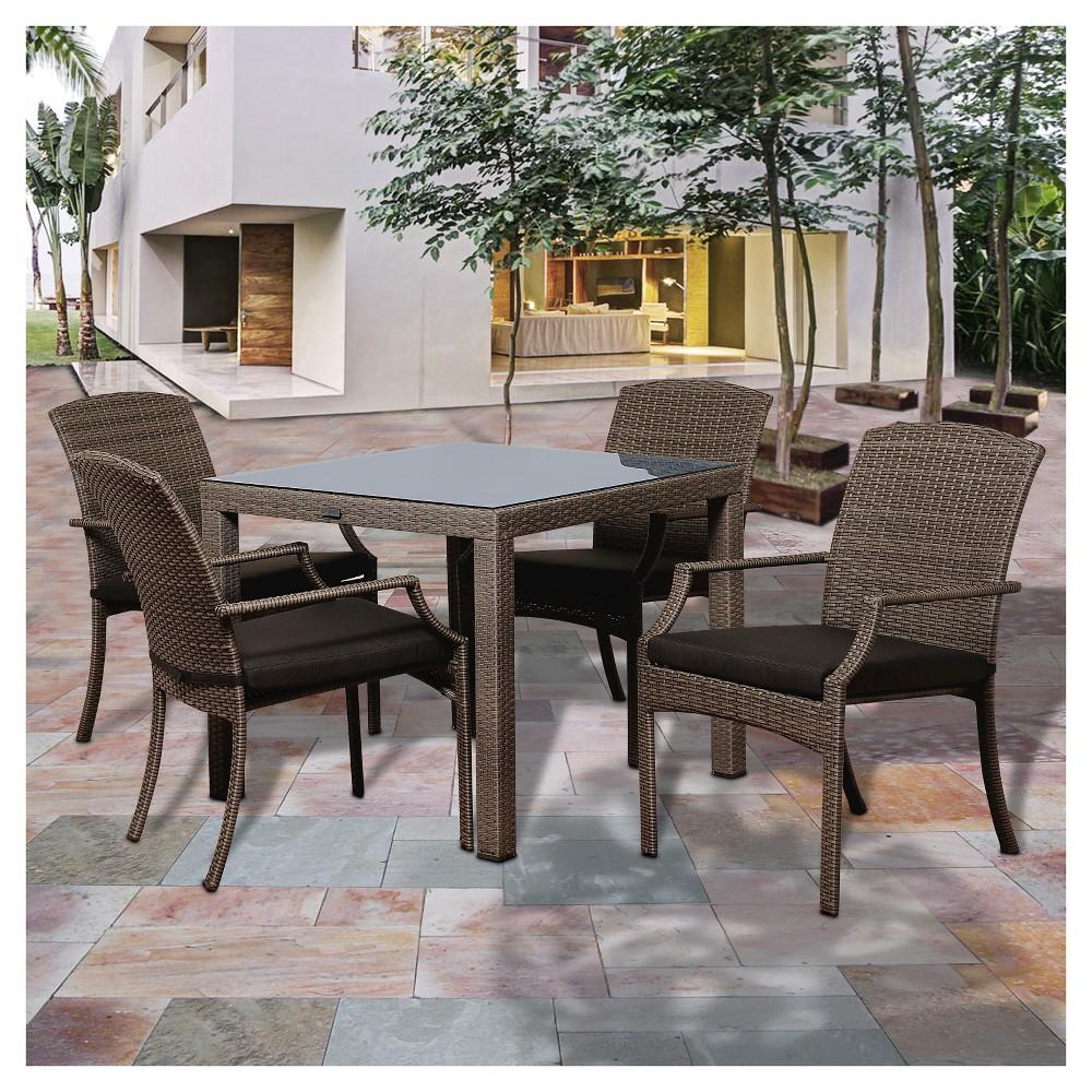 Miami Beach 5pc Wicker Patio Dining Set - Gray