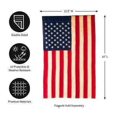 Evergreen Flag Patriotic  American Flag  Tea Stained