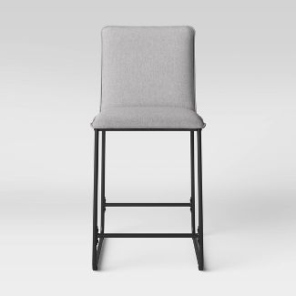 Upholstered Counter Stool with Metal Frame Gray Fabric - Room Essentials™