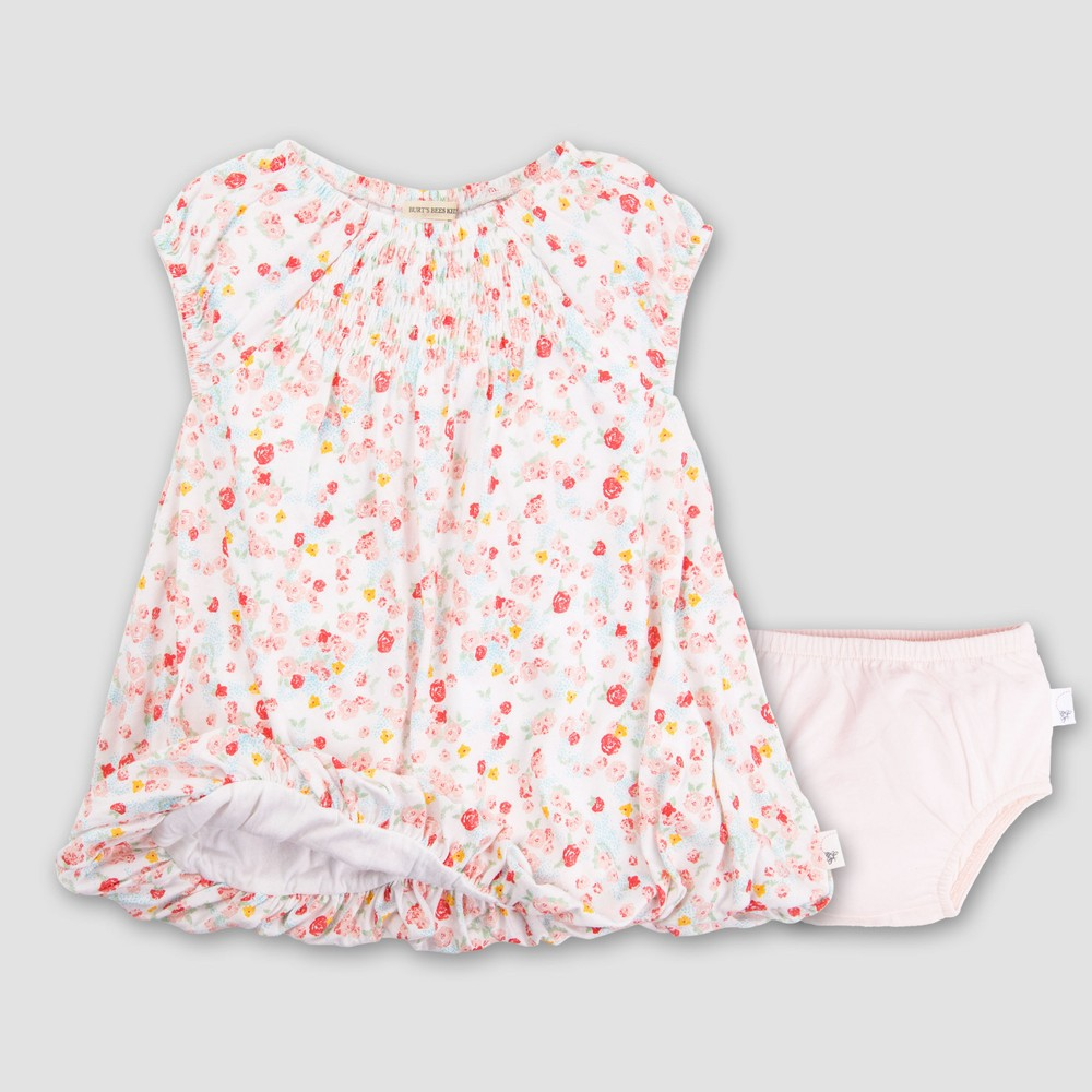 Burt's Bees Baby Girls' Organic Cotton Ditsy Floral Bubble Dress & Diaper Cover - Cloud 18M, White Pink