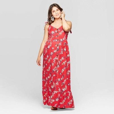 Maternity Floral Print Sleeveless V-Neck Button Front Maxi Dress - Isabel Maternity by Ingrid & Isabel™ Red XXL
