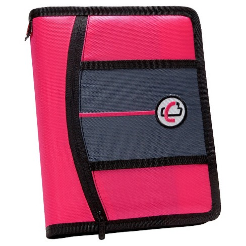 "Case•it 1"" 3 Ring Binder with Zipper Cover 9 Pockets 5.5"" x 11"" Pink - image 1 of 2"
