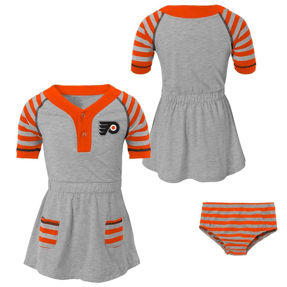 Philadelphia Flyers Girls' Infant/Toddler Striped Gray Dress - 12M, Multicolored