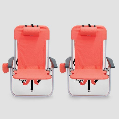 2pk Low Folding Backpack Beach Chair - Coral - Room Essentials™ - image 1 of 3