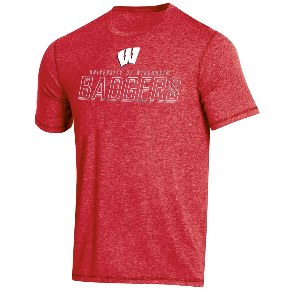 NCAA Men's Short Sleeve Poly T-Shirt Wisconsin Badgers - L, Multicolored