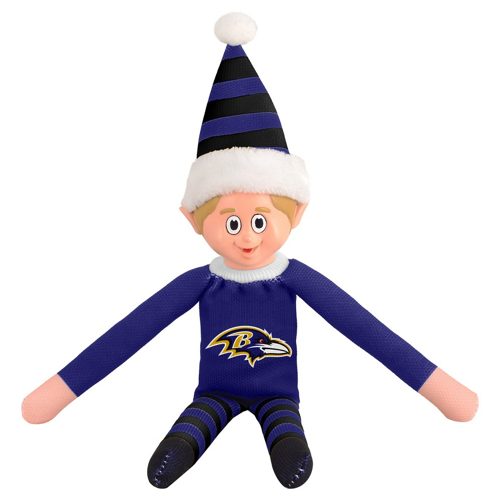 Baltimore Ravens Forever Collectibles Plush Forever Collectibles - NFL Team Elf, Baltimore Ravens - This Forever Collectibles Team Elf with provide hours of joy and holiday cheer for all. This officially licensed elf is sporting your favorite team's logo on his sweatshirt and a Santa hat for the season. Start a new tradition this year with your 2015 team elf! Age - 3 and up. Team elf is approximately 14 inches tall.