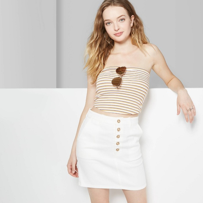 Women's Mid-Rise Button Front Mini Skirt - Wild Fable™ White - image 1 of 3
