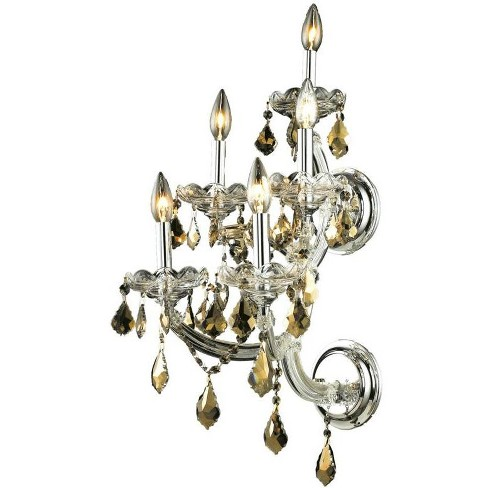 Elegant Lighting 2800W5C-GT Maria Theresa 5-Light Crystal Wall Sconce, Finished in Chrome - image 1 of 1