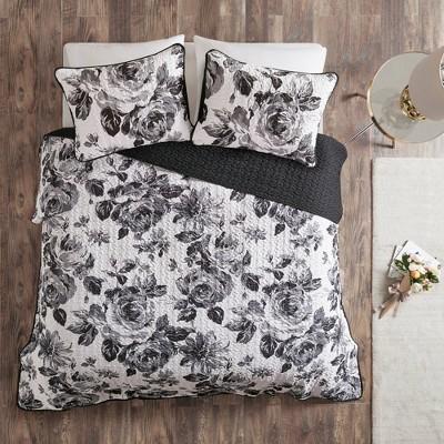 Hannah Full/Queen 3pc Printed Coverlet Set Black/White