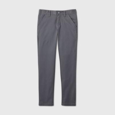 Girls' Flat Front Stretch Uniform Skinny Pants - Cat & Jack™ Charcoal Gray