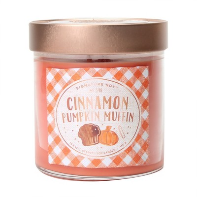 15.2oz Large Lidded Jar 2-Wick Candle Cinnamon Pumpkin Muffin - Signature Soy