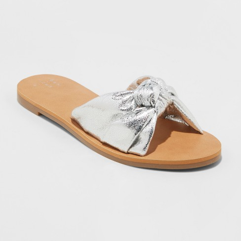 b3c691f0211 Women s Nelora Metallic Knotted Slide Sandals - A New Day™   Target