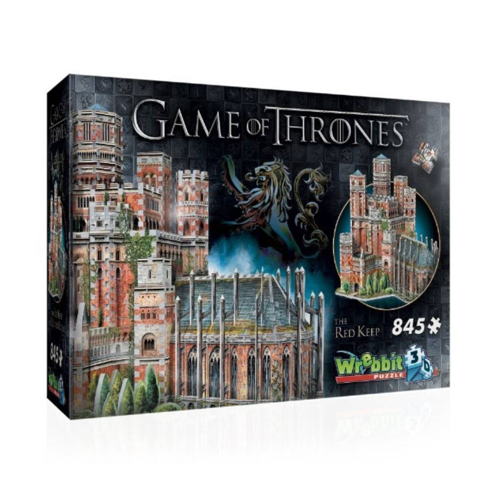 Wrebbit The Red Keep 3D Puzzle 845pc Build your own 3D replica of the residence of the King of the Andals and the First Men. Located within King's Landing, the capital of the Seven Kingdoms, it is also home of the highly coveted Iron Throne. This 845 piece 3D puzzle is a must for all Game of Thrones fans. The Red Keep assembled dimensions are approximately 16.5 L x 13  W x 15.5  H. Wrebbit3D puzzles have snug and tight-fitting pieces that are easy to handle. They are the sturdiest 3D puzzles on the market with the highest quality of design and illustration. Made in Canada. Recommended for ages 14 and up. Warning: Choking Hazard -- Small parts. Not for children under 3 yrs. Gender: Unisex.