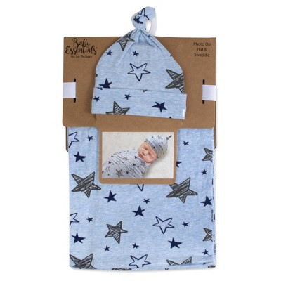 Baby Essentials Stars Swaddle and Knot Cap - Heather Blue