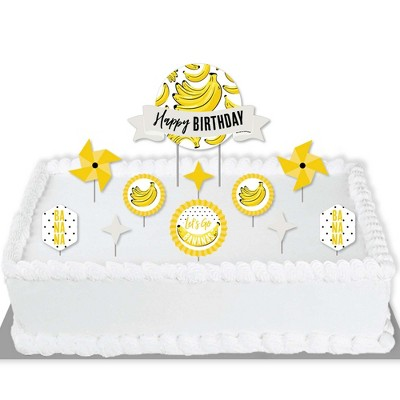 Big Dot of Happiness Let's Go Bananas - Tropical Birthday Party Cake Decorating Kit - Happy Birthday Cake Topper Set - 11 Pieces