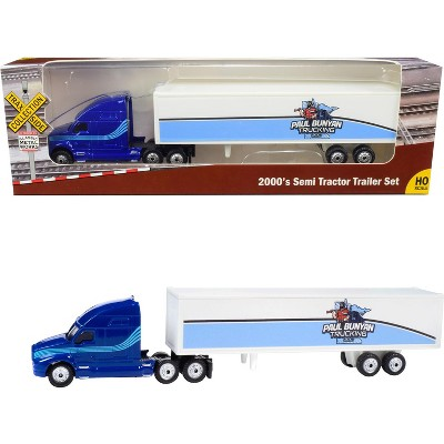 """2000's Semi Tractor Trailer Truck Blue and White """"Paul Bunyan Trucking LLC"""" """"TraxSide Collection"""" 1/87 (HO) Scale Diecast Model by Classic Metal Works"""