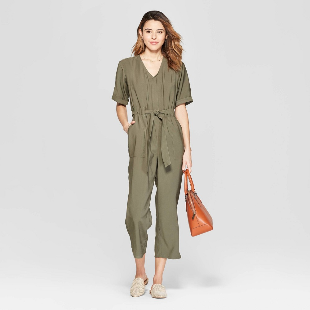 Women's Short Sleeve V-Neck Utility Jumpsuit - A New Day Olive S, Green