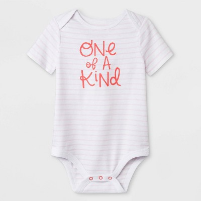 Baby Girls' Short Sleeve  One of A Kind  Lap Shoulder Bodysuit - Cat & Jack™ White 3-6M