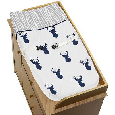 Sweet Jojo Designs Changing Pad Cover - Navy & White Stag
